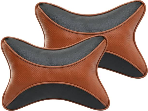 Auto Hub Black, Brown Leatherite Car Pillow Cushion for Universal For Car