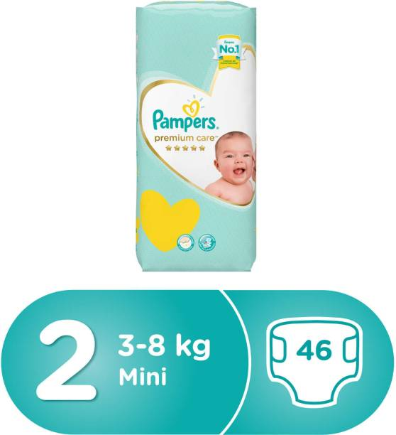 Pampers Premium Care Diapers, Size 2, Mini, 3-8 kg, Mid Pack, 46 Count - S