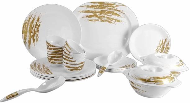 STEHLEN Pack of 32 Melamin Golden Plushy Series, 100% Pure Melamine, Dishwasher Safe 32 Pcs Dinner Set (White & Gold) Dinner Set