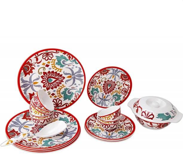 STEHLEN Pack of 21 Melamin Traditional Ekat Series, 100% Pure Melamine, Dishwasher Safe 21 Pcs Dinner Set (Multi) Dinner Set