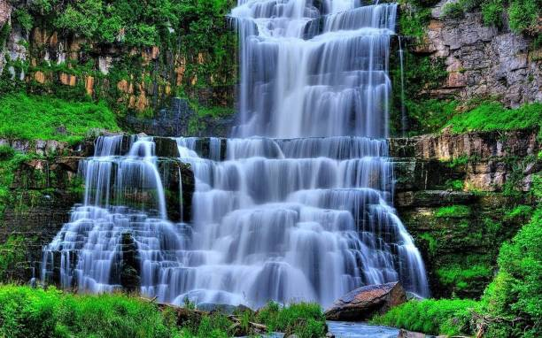 Nature Wall Poster|Vastu Beautiful Waterfall Scenery Poster|Decorative Poster-High Resolution -300 GSM- (18 x 12) Paper Print