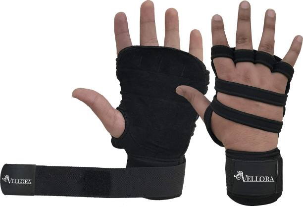 Vellora Leather Netted With Wrist Support Gym & Fitness Gloves