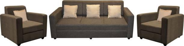 Flipkart Perfect Homes Burano Fabric 3 + 1 + 1 Dark Brown Sofa Set