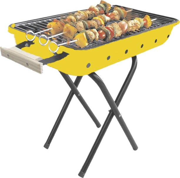 Chefman Portable Picnic Charcoal Barbeque with 4 Skewers, 1 Iron Grill and Charcoal Charcoal Grill