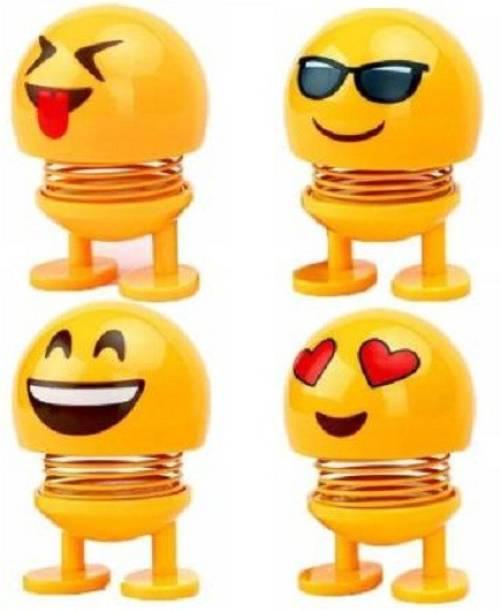ReBuy Cute Smiley Spring Emoji, Bobble Head Dolls Car Air Vent Trim