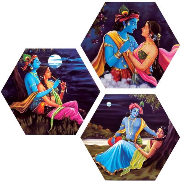 Art Amori The love of Radhe krishna 3 piece Hexagon MDF Painting Digital Reprint 21.5 inch x 21.5 inch Painting