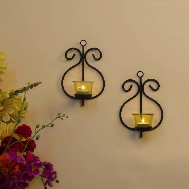 decorate india Metal Wall Scone with Glass and T-Light Candles (13 cm x 7 cm x 19 cm, Black Cast Iron Tealight Holder Set