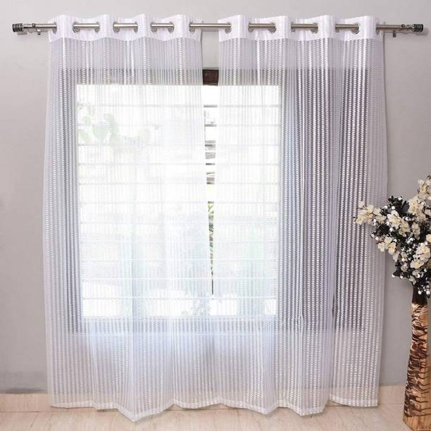 DPCREATIONS 212 cm (7 ft) Polyester, Tissue Window Curtain Single Curtain