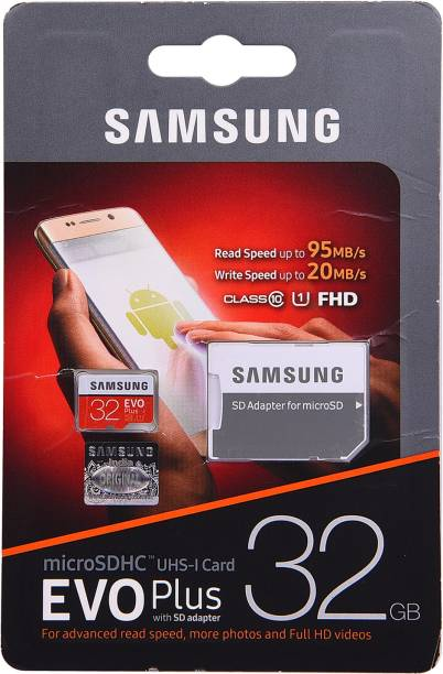 SAMSUNG EVO Plus with SD adapter 32 GB MicroSDHC Class 10 95 MB/s  Memory Card