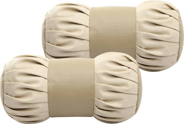 Auto Hub Beige Leatherite Car Pillow Cushion for Universal For Car