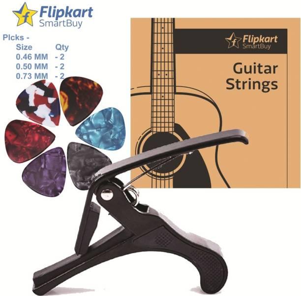 Flipkart SmartBuy Combo Pack AG-011 String Set & AGC-20 with 6 Picks, Clutch Guitar Capo