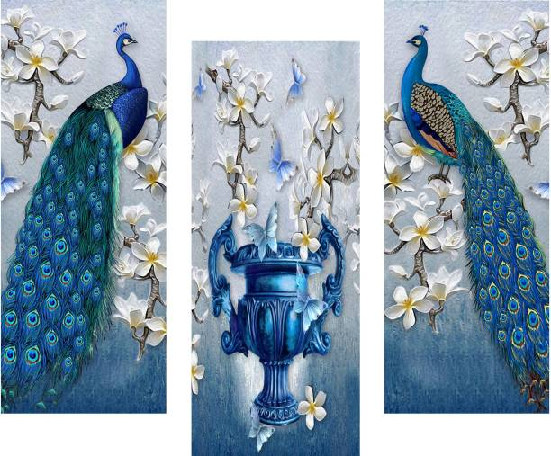 Masstone Peacock Modern Art 3 Piece MDF Painting Digital Reprint 15 inch x 18 inch Painting