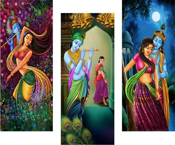 Masstone Radha Krishna Religious 3 Piece MDF Painting Digital Reprint 15 inch x 18 inch Painting
