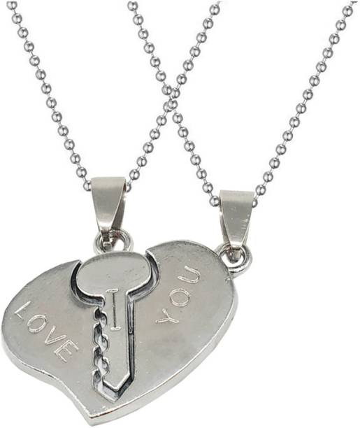 Men Style 1 Pair Romantic Couple I Love You Lock Key Broken Heart Lover Gift Zinc Pendant