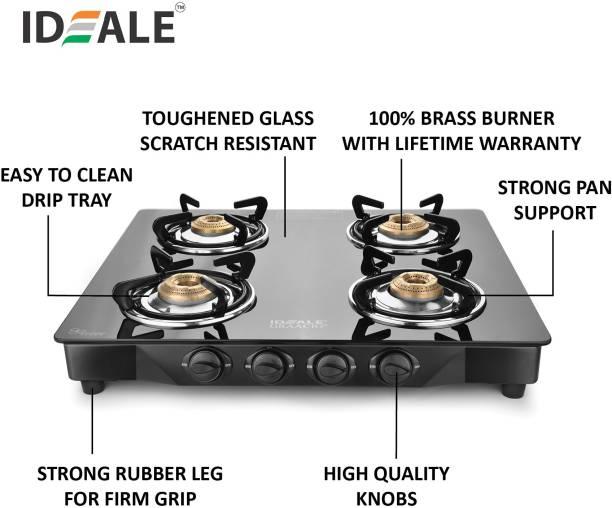 Ideale Graacio SIRO Burner Glasstop Glass, Stainless Steel Manual Gas Stove