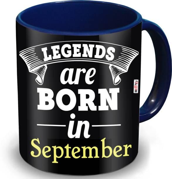 ME&YOU Legends Are Born In September Printed Dark Blue Coffee Ceramic Coffee Mug