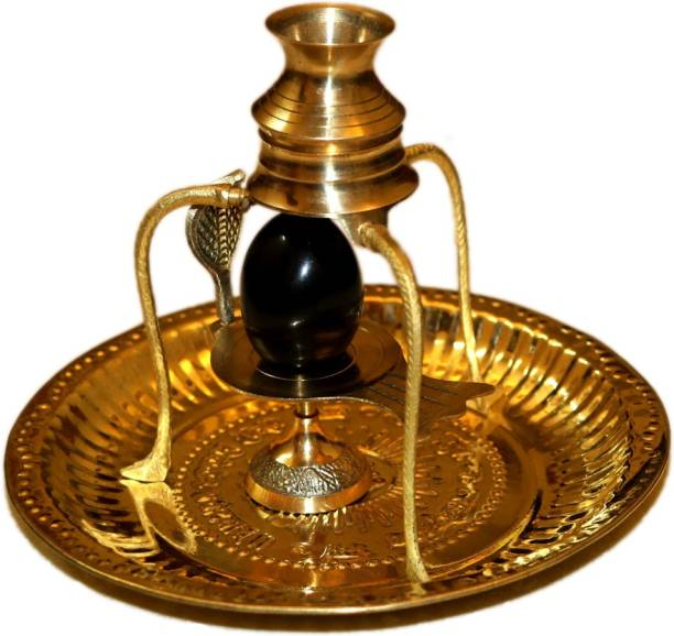 Bansiwal Black Shaligram Shiva Ling/Shivling with Brass Trishul Jalahari Yoni, Plate, Kalash with Stand Brass