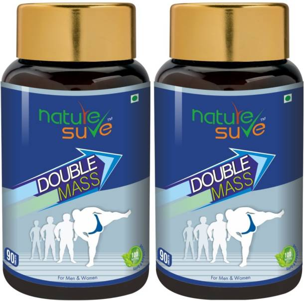 Nature Sure Double Mass Tablets for Men and Women – 2 Packs (90 Tablets Each) Weight Gainers/Mass Gainers