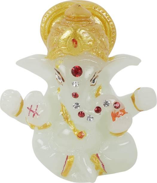VOILA Lord Ganesh Stone Studded Statue for Car Dashboard Decorative Showpiece  -  8 cm