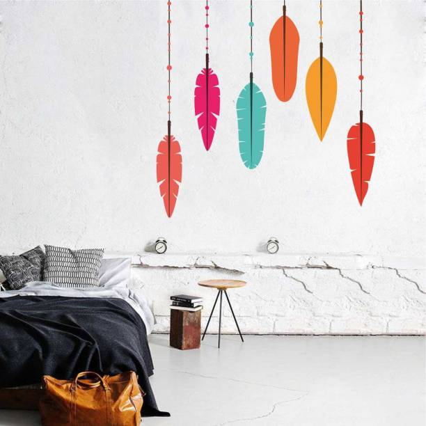 rawpockets Decals ' Multi-Color Feather ' Large Size Wall Sticker (Wall Coverage Area - Height 105 cms X Width 105 cms )( Pack of 1)