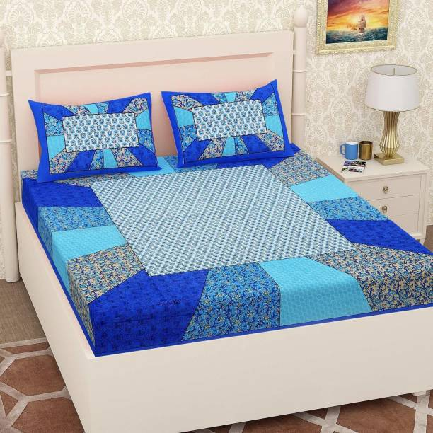 crafton 180 TC Cotton Double Geometric Bedsheet