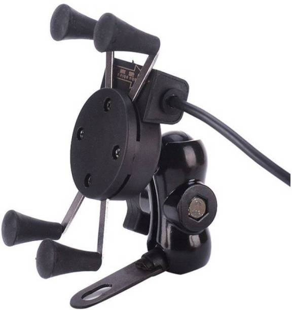 RWT X-Grip Mobile Phone Holder with USB Charger Bike Mobile Holder Bike Mobile Holder