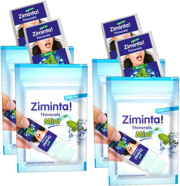 Ziminta Mouth Freshener Orally Disintegrating Strips ( Sugar Free ) - 30 Strips (Mint Flavour) - Pack Of 4 Strip