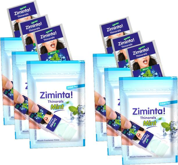 Ziminta Mouth Freshener Orally Disintegrating Strips ( Sugar Free ) - 30 Strips (Mint Flavour) - Pack Of 6. Strip