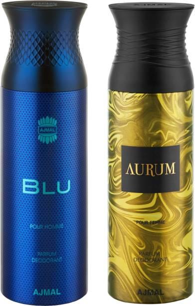 AJMAL Blu & Aurum Deodorants + 2 Testers Deodorant Spray  -  For Men & Women