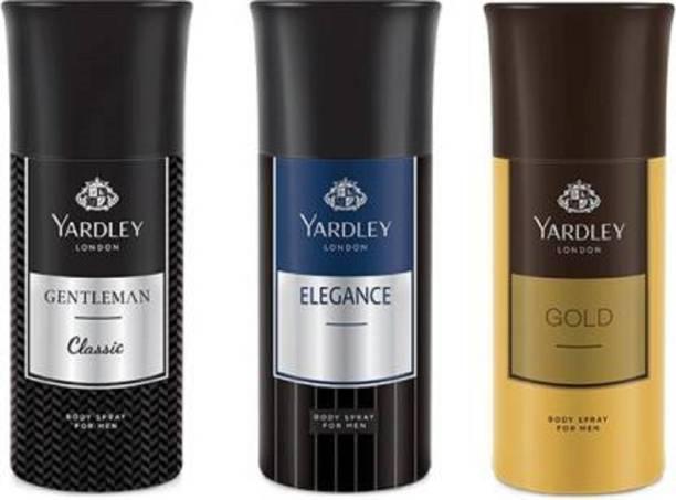 Yardley London Gentleman &Elegance & gold deo (150 ml)pack 3 Deodorant Spray  -  For Men