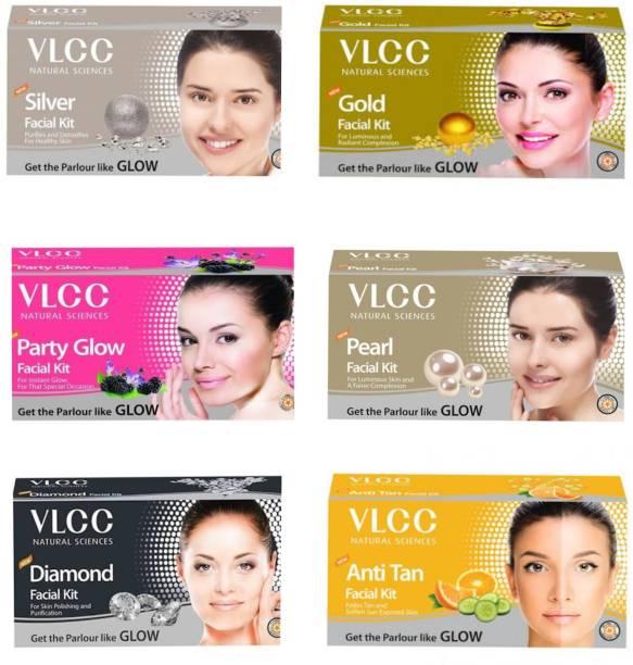 VLCC Silver,Gold, Party Glow, Pearl, Diamond, Anti Tan, Mini Facial Kit.