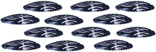 One Personal Care Pack of 12 Glossy, Oval Inspired Designer Handy Hair Fix for Formal/School Wear Hair Accessory Set