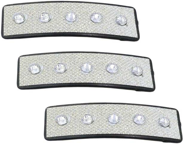 One Personal Care Pack of 3 White Diamond Studded Designer Brocade Hair Jewelry, Casual Wear/Occasion Hair Accessory Set
