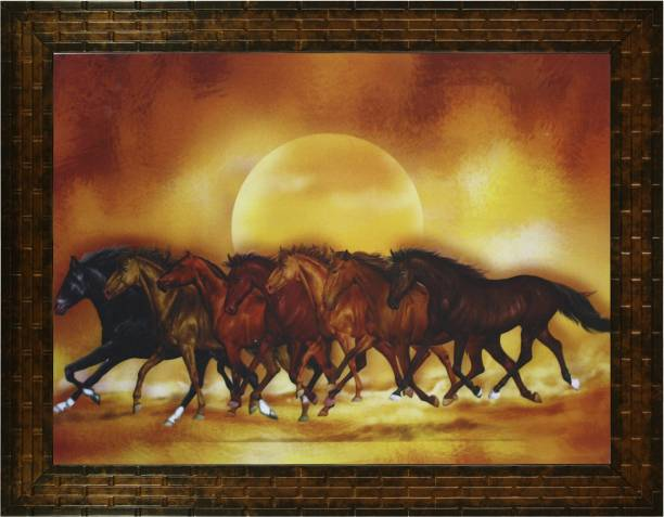 Indianara VASTU SEVEN HORSES (1965) WITHOUT GLASS Digital Reprint 10.2 inch x 13 inch Painting