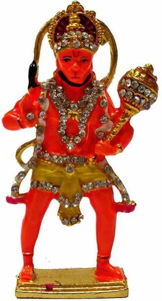Collectible India Gold Plated Lord Hanuman Car Dashboard Decorative Showpiece  -  10 cm