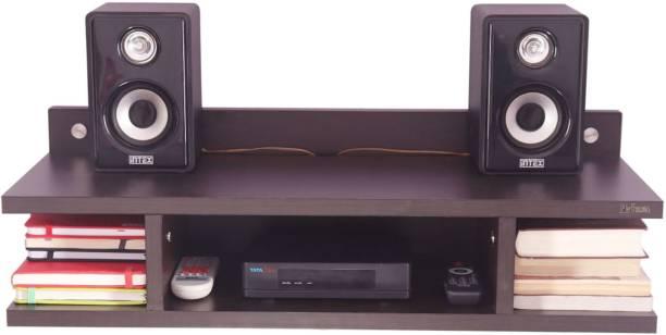 Madhuran Madhuran Mini Wall Mounted Tv Unit Wooden Wenge (25X10X9.5) Engineered Wood TV Entertainment Unit