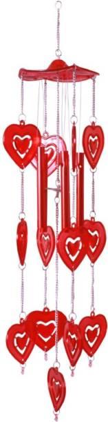 Sanol Lovely red heart wind chimes for home decoration wind chimes for home in Windchimes love bell wind chimes feng shui wind chime shanol Plastic, Steel Windchime