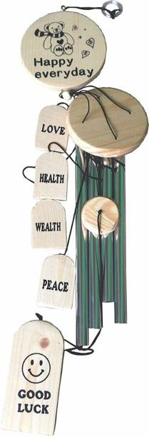 Sanol Hanging for Home, Balcony, Garden Gallery Office Bedroom with Good Sound Quality The Positive Energy 4 Silver Pipes Good Luck - 30 inches Shanol (30 inch, Silver, Beige) Wood, Steel Windchime