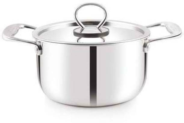 Shri & Sam Triplica High Grade Stainless Steel Casserole with Stainless Steel Lid,Silver (all cooktop friendly) (16 CM) Cook and Serve Casserole
