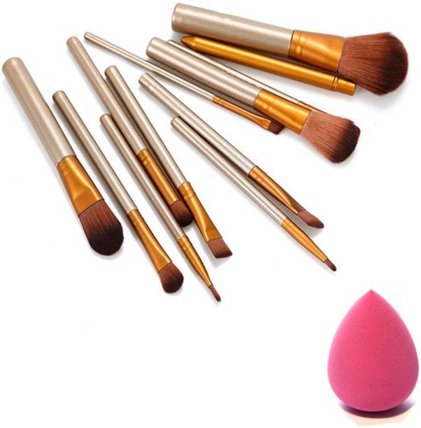 RTB Naked-plus Nylon and Wooden Makeup Brush Set of 12 with sponge puff