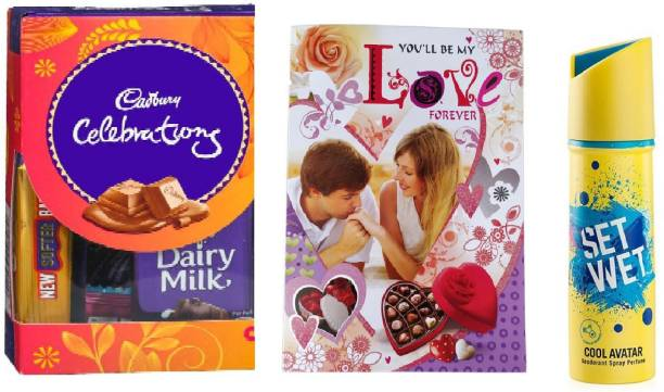 Cadbury Gift Pack Chocolates With Anniversary Greeting Card And Set Wet Deo Combo