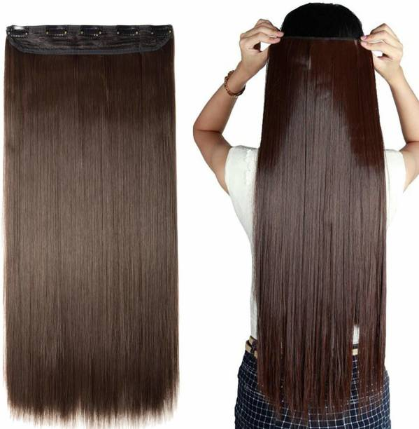 Styllofy 5 Clips In 1 Weft  Extension Straight Extension For Women Brown 80 Gram Hair Extension