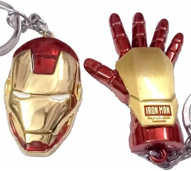 MASHKI 2 Pc Iron Man Mask Helmet & Palm Key Chain