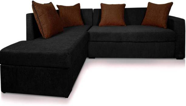 DHANJI DESIGNS Leatherette 3 + 2 BLACK Sofa Set