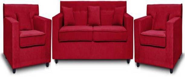 DHANJI DESIGNS Leatherette 3 + 1 + 1 RED Sofa Set