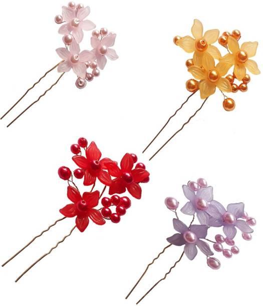 GadinFashion Juda Pins For Bridal And Girls Wedding Wear Use, Juda Pin Hair Decoration Accessories For Women/Girls Multi (Set Of 4) Hair Pin