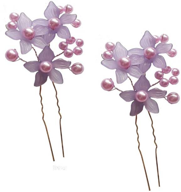 GadinFashion Juda Pins For Bridal And Girls Wedding Wear Use, Juda Pin Hair Decoration Accessories For Women/Girls Violet (Set Of 2) Hair Pin