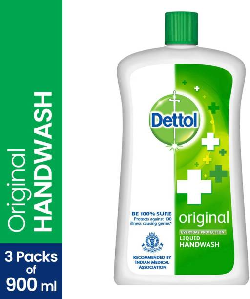 Dettol Original Handwash Liquid Soap Jar, 900ml, Pack of 3 Hand Wash Bottle