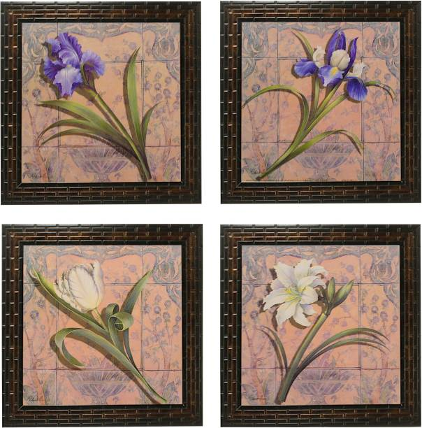 Indianara 4 Piece Set of Framed Wall Hanging Floral Art Prints (2065) Digital Reprint 9.5 inch x 9.5 inch Painting