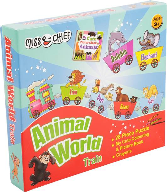 Miss & Chief Animals Train Puzzles with Colouring Book & Crayons